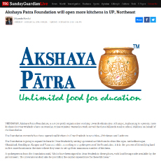 Akshaya Patra Foundation will open more kitchens in UP, Northeast
